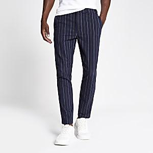 Marineblauwe gestreepte skinny broek