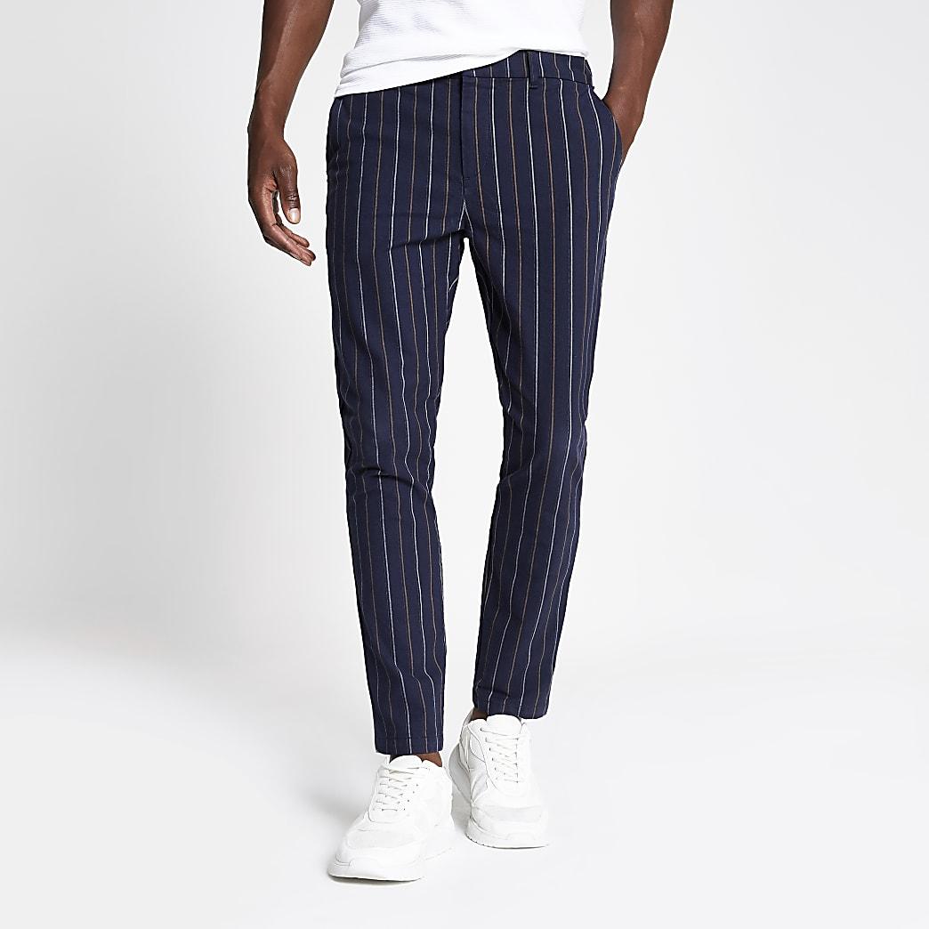 Navy stripe skinny trousers