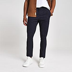 Marineblaue Skinny-Hose mit Streifen