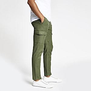 Khaki skinny cargo pants
