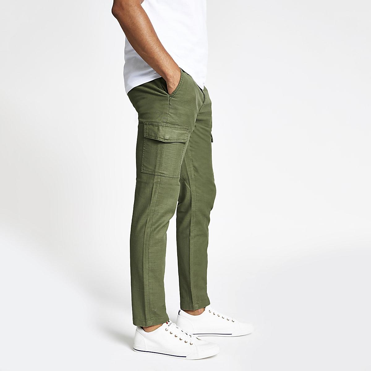 Khaki skinny cargo trousers