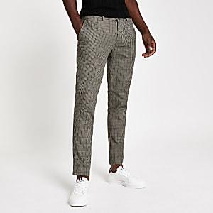 Brown check print skinny trousers
