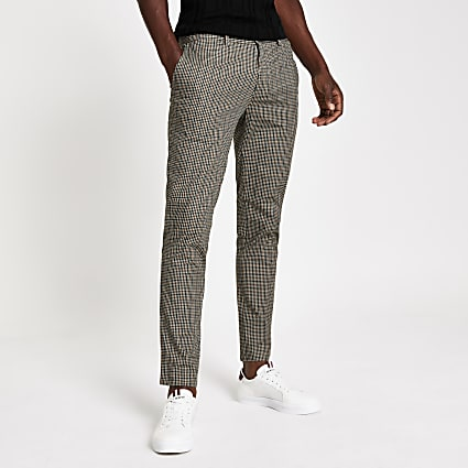 Brown check print skinny trousers