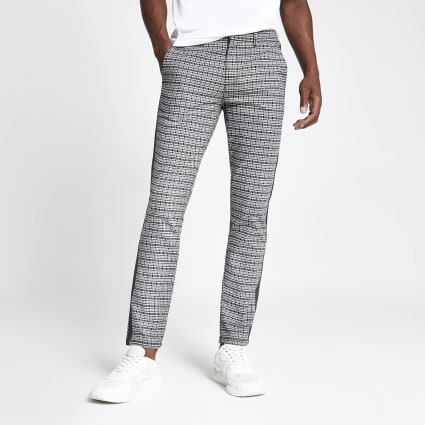 Black check skinny trousers