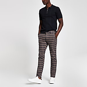 Pantalon skinny à carreaux marron