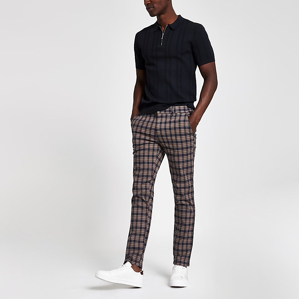 Pantalon skinny à carreaux marron