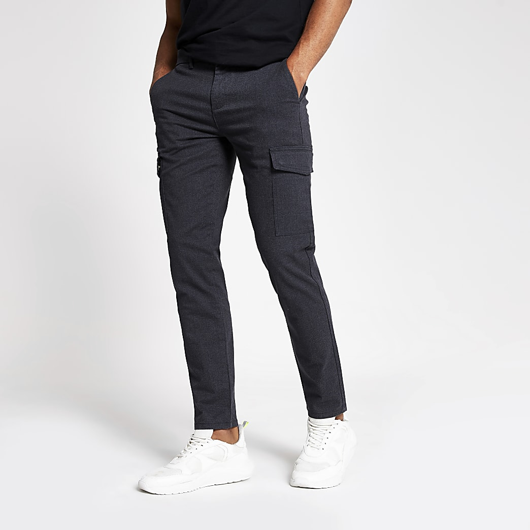 Navy textured skinny cargo trousers