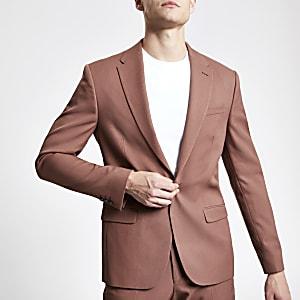Braune Skinny Anzugjacke aus Twill
