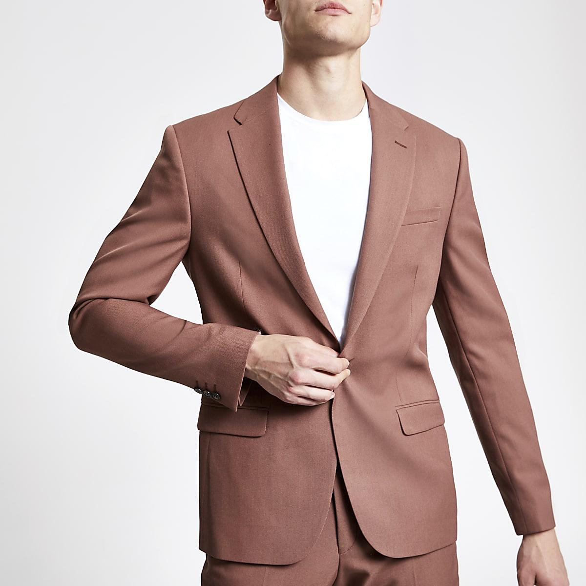 Brown twill skinny suit jacket