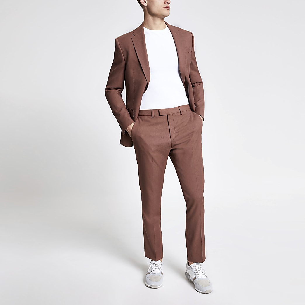 Brown twill suit trousers