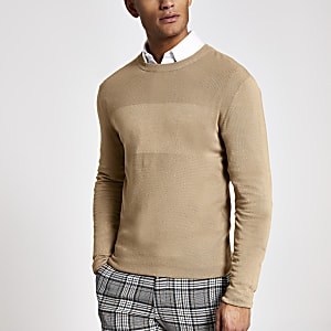 Light brown stitch panel slim fit jumper