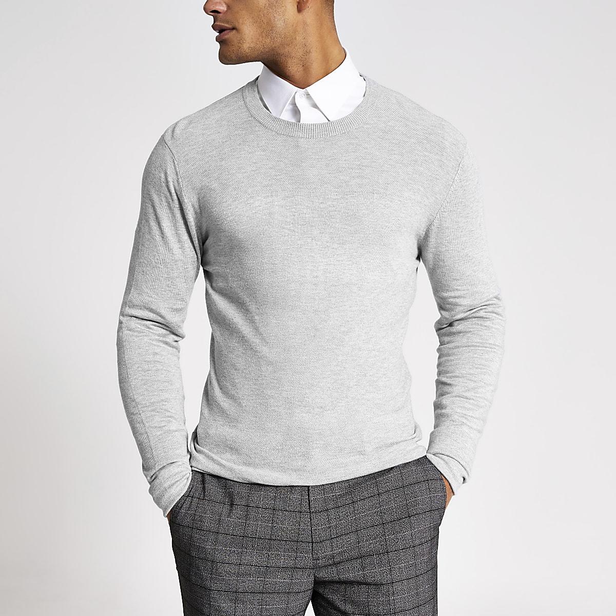 Grey stitch panel slim fit jumper