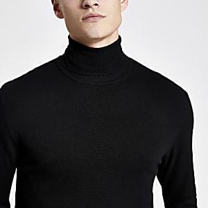 Schwarzer Slim Fit Rollkragenpullover