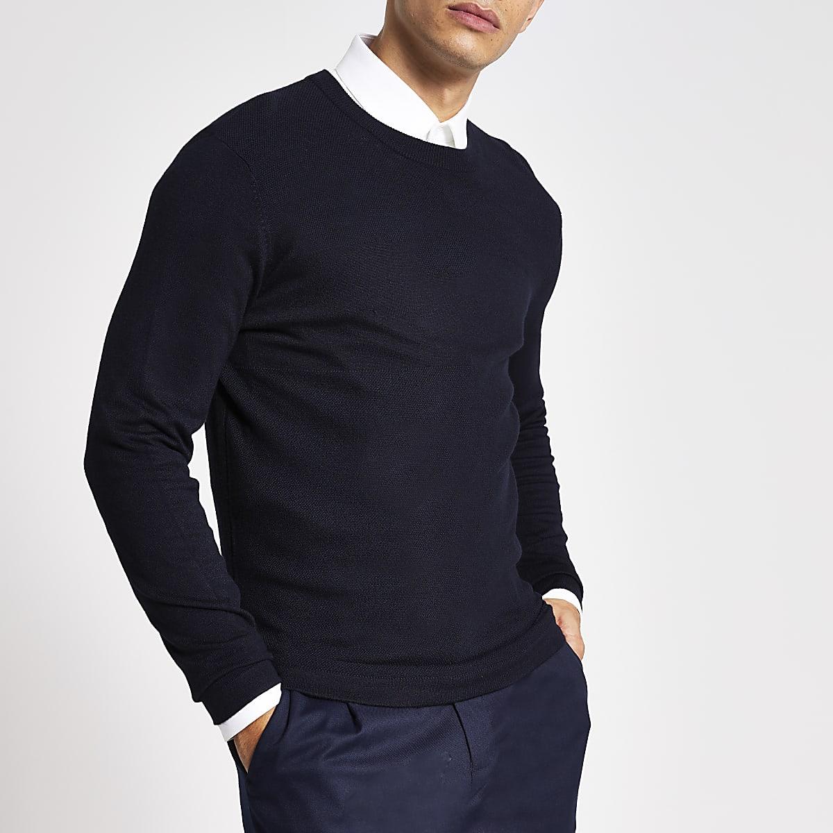 Marineblauwe slim-fit pullover met stiksel