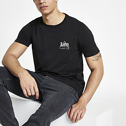 Lee black logo print T-shirt