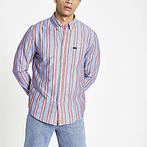 Lee - Roze gestreept overhemd met lange mouwen
