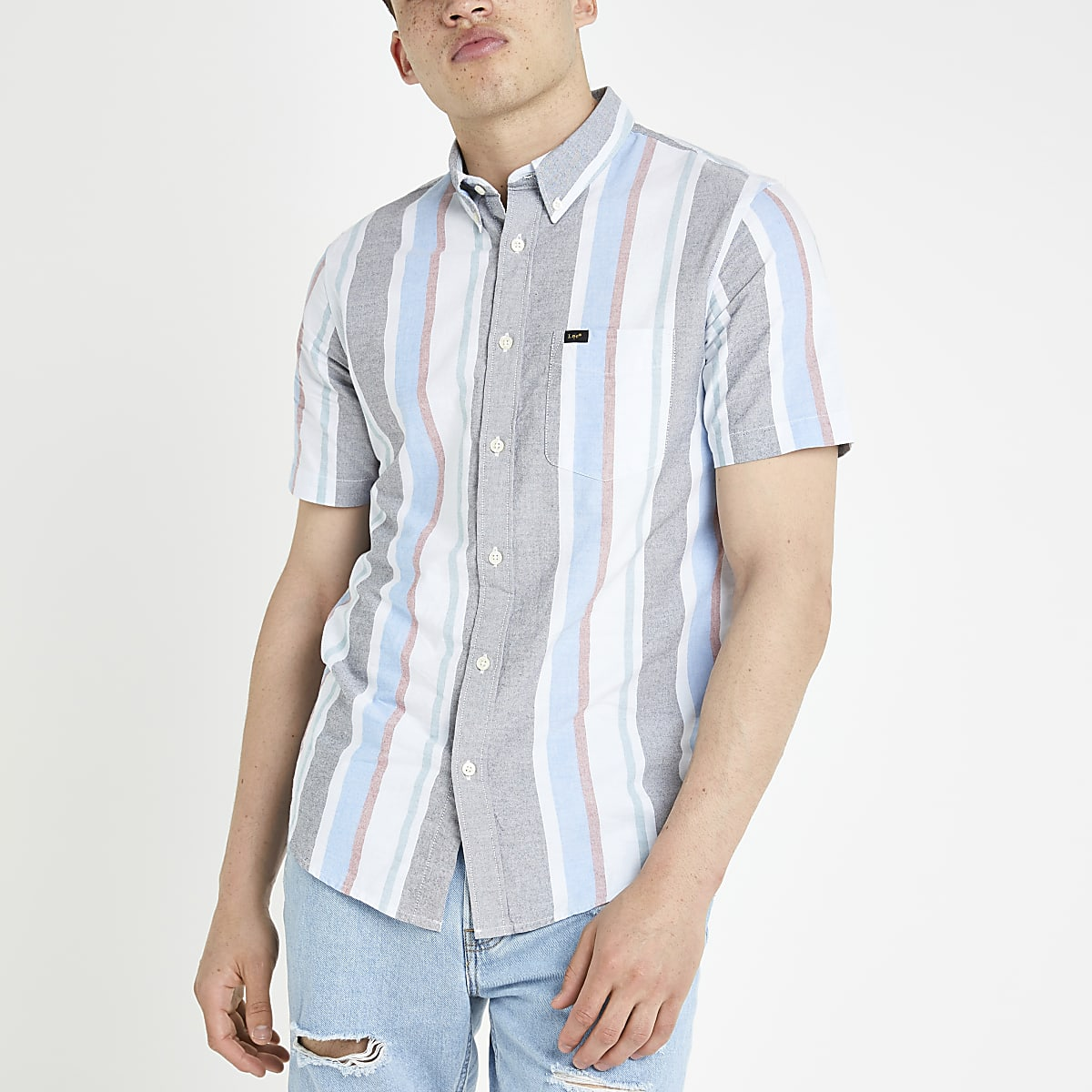 Lee - Blauw gestreept overhemd met korte mouwen