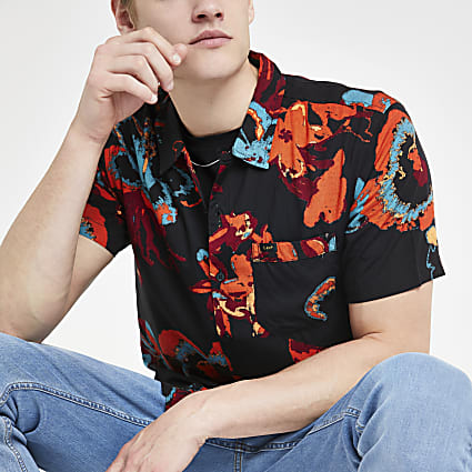 Lee black floral regular fit shirt