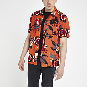 Lee orange floral short sleeve shirt