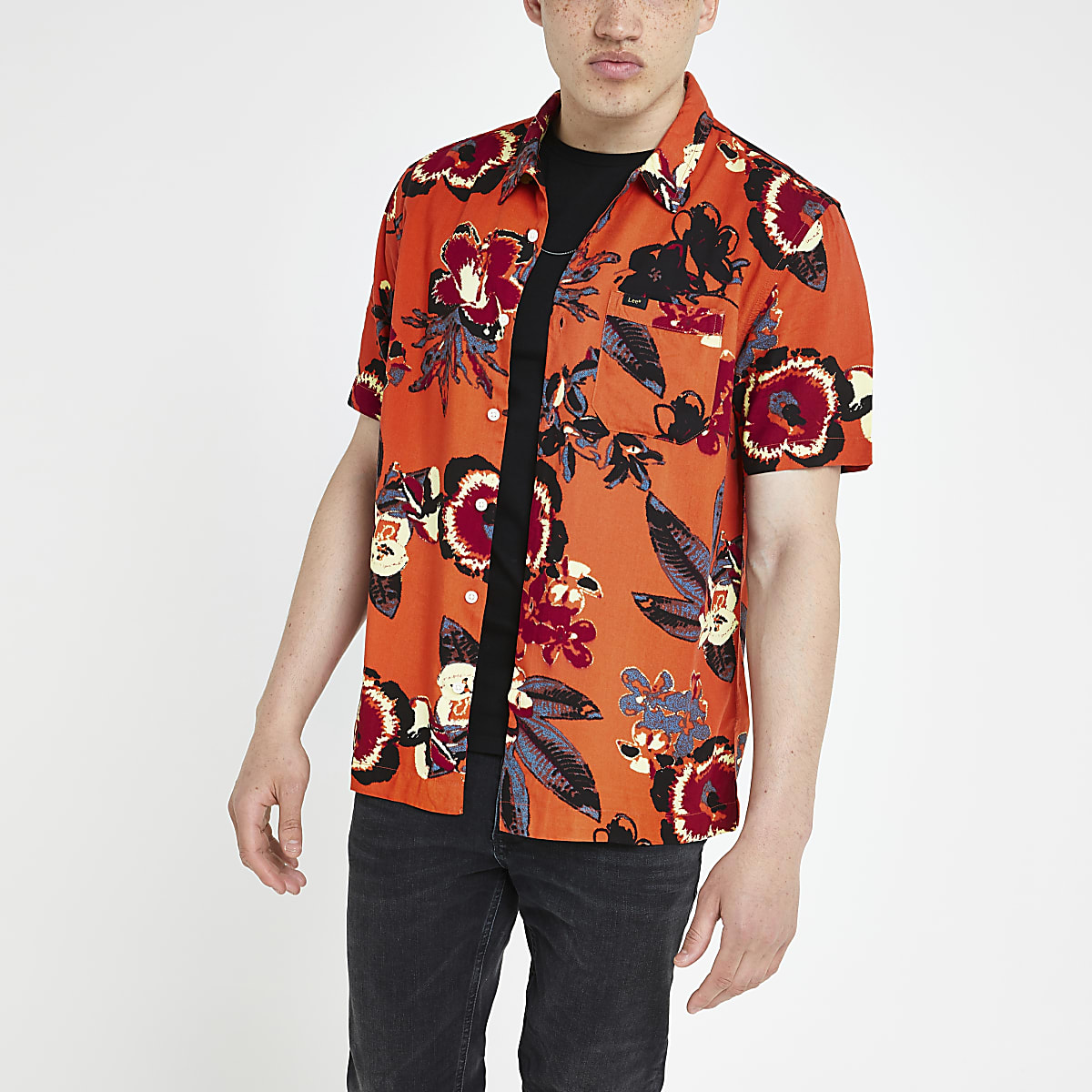 Lee orange floral regular fit shirt