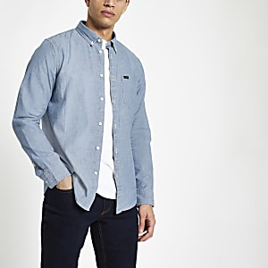 Lee - Lichtblauw denim overhemd met knopen