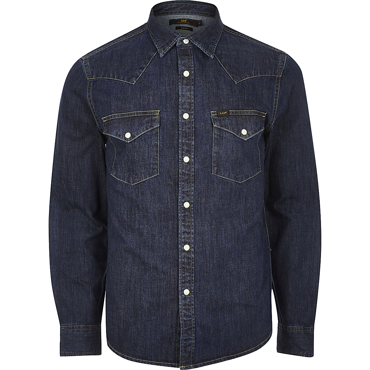 1538fa29509 Lee dark blue slim fit denim western shirt - Long Sleeve Shirts ...