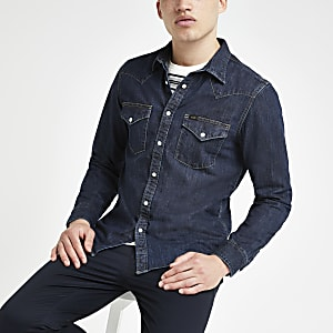 Lee - Donkerblauw slim-fit denim western overhemd