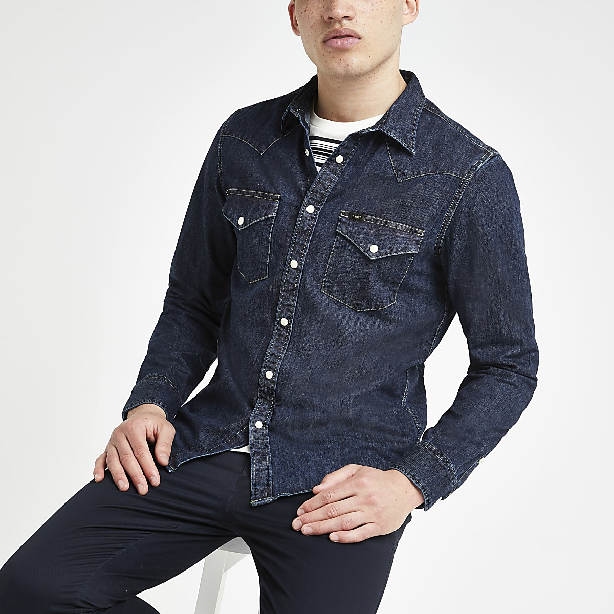 Lee dark blue denim western long sleeve shirt