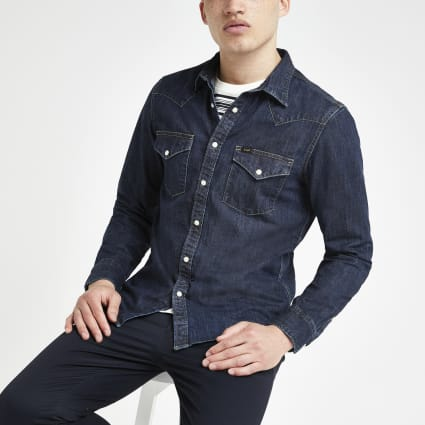 Lee dark blue denim western regular fit shirt