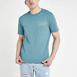 Lee – Blaues T-Shirt mit Print