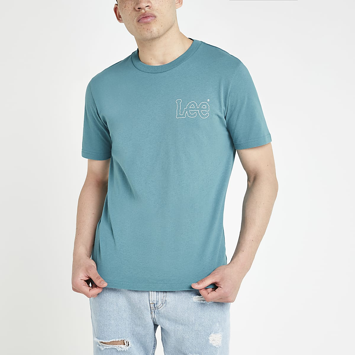 Lee blue logo print T-shirt