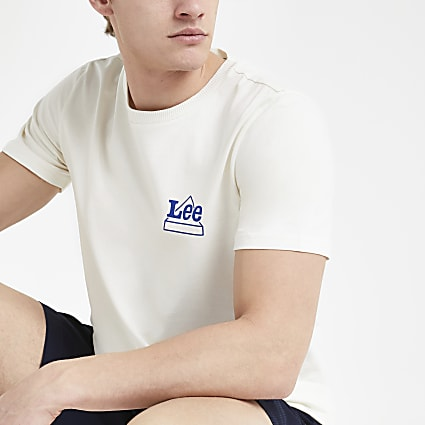 Lee white logo print T-shirt
