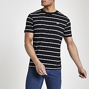 Lee – Schwarzes, gestreiftes T-Shirt