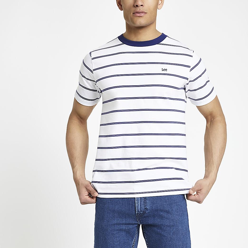 Lee – T-shirt rayé blanc