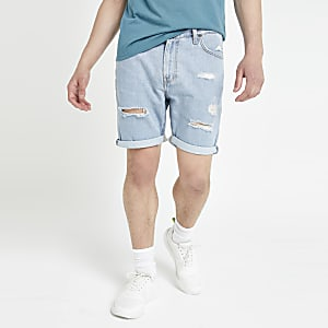 Lee – Blaue Jeansshorts im Used-Look