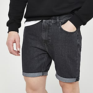 Lee black rider denim shorts