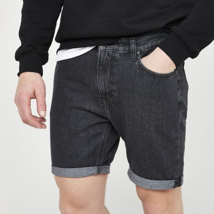 Lee black rider denim shorts