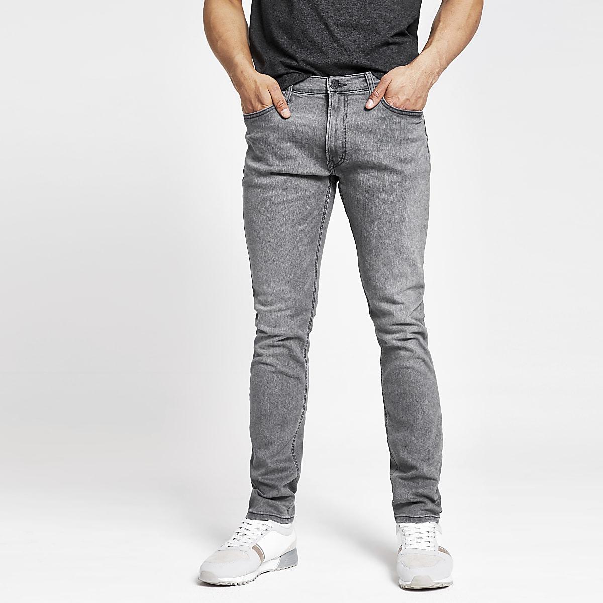 Lee grey tapered slim fit jeans