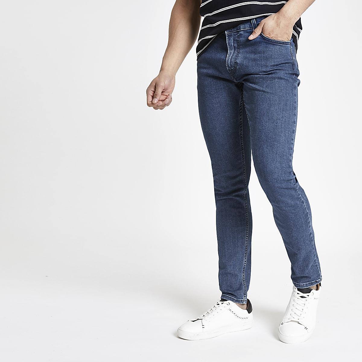 Lee – Malone – Dunkelblaue Skinny Fit Jeans