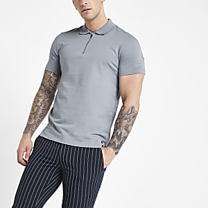 Jack and Jones grey zip polo shirt
