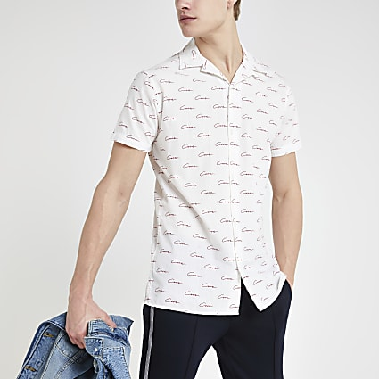 Jack and Jones white monogram print shirt