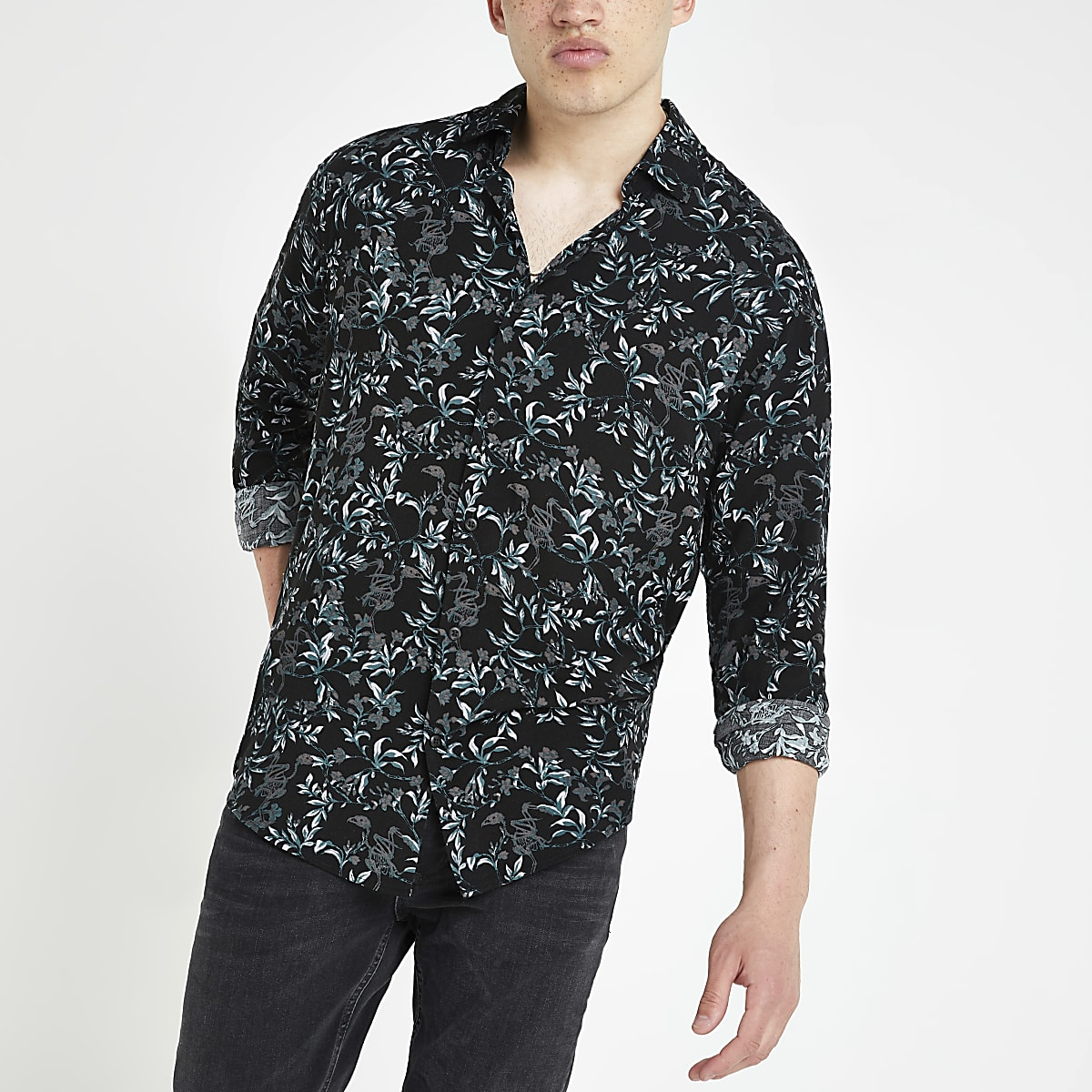 Jack and Jones – Chemise manches longues à fleurs noire