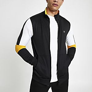 Jack & Jones black zip front track top
