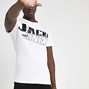 Jack and Jones white logo print T-shirt