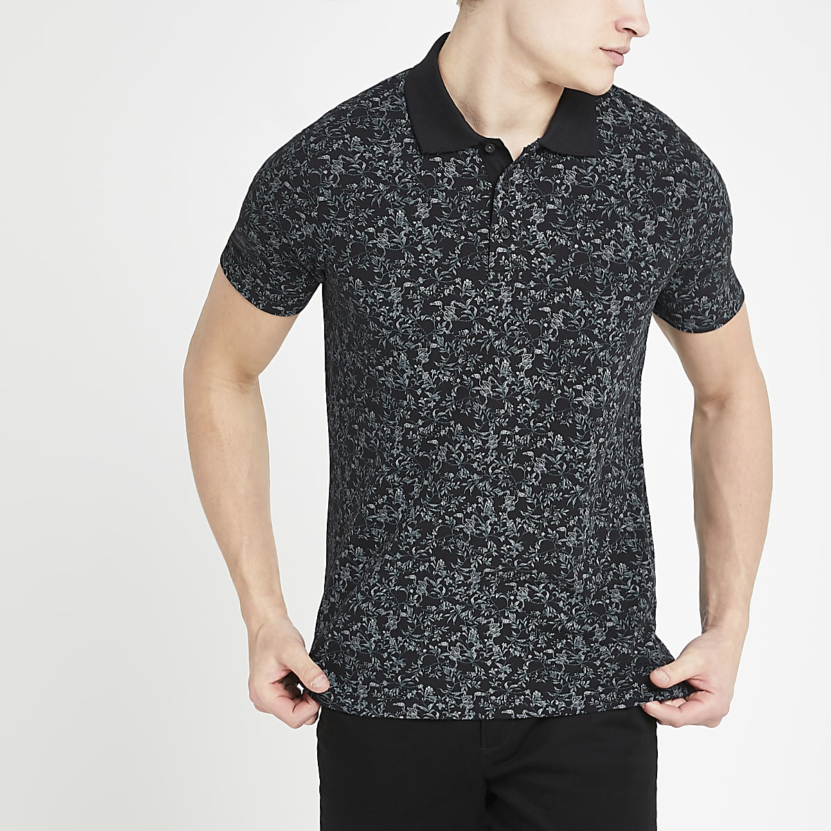 Jack and Jones black floral polo shirt