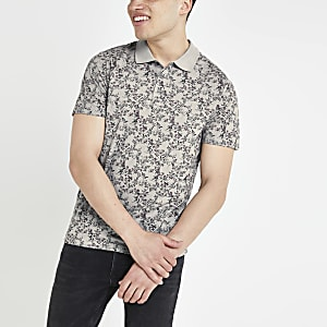 Jack and Jones - Grijs poloshirt met bloemenprint