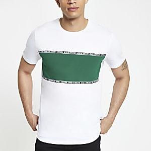 Jack & Jones - Wit T-shirt met blokprint