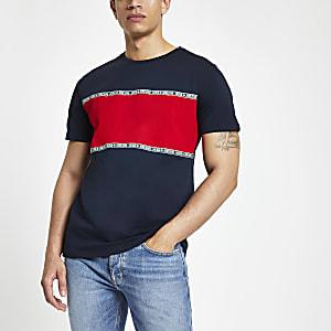Jack & Jones - Marineblauw T-shirt met blokprint