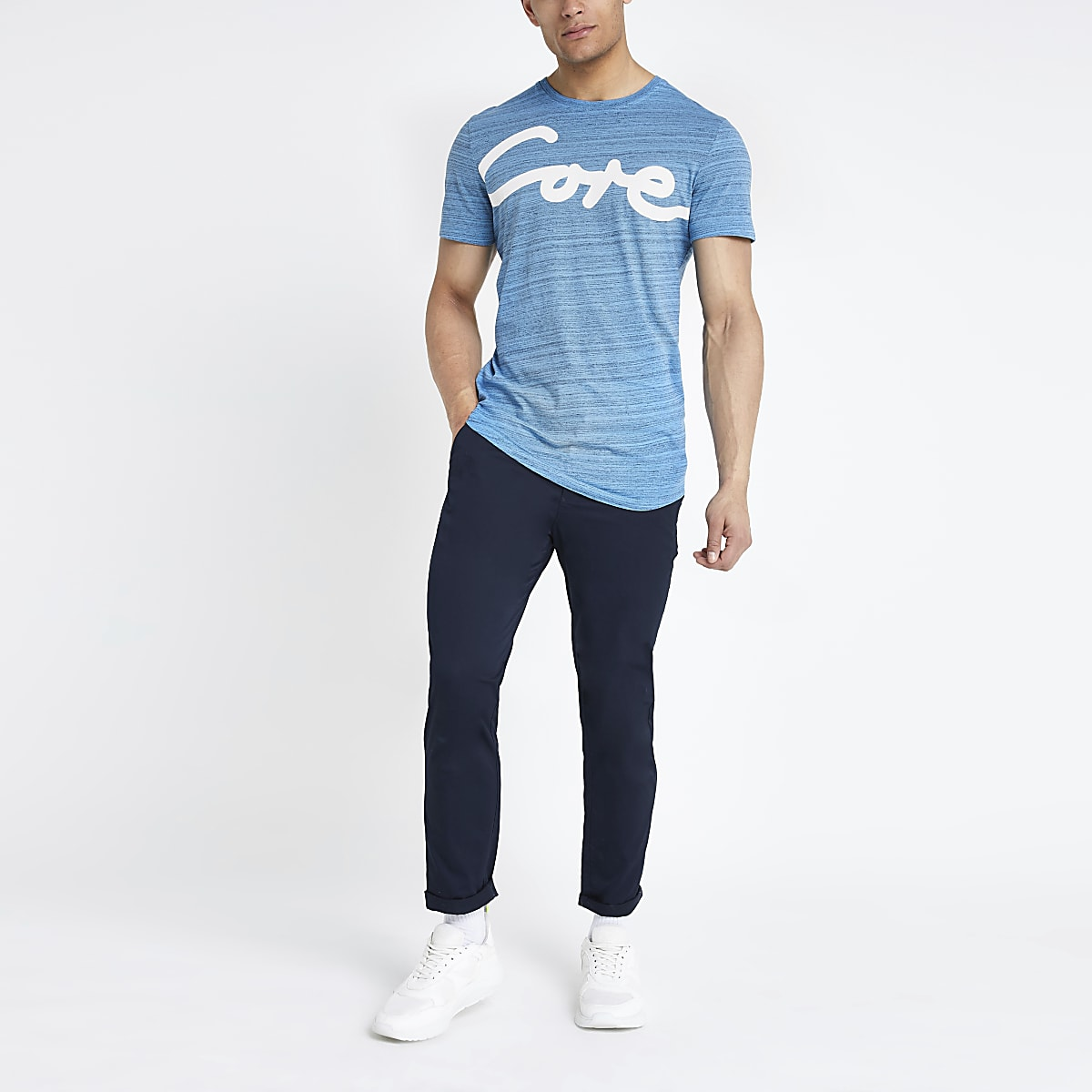 Jack and Jones blue printed T-shirt