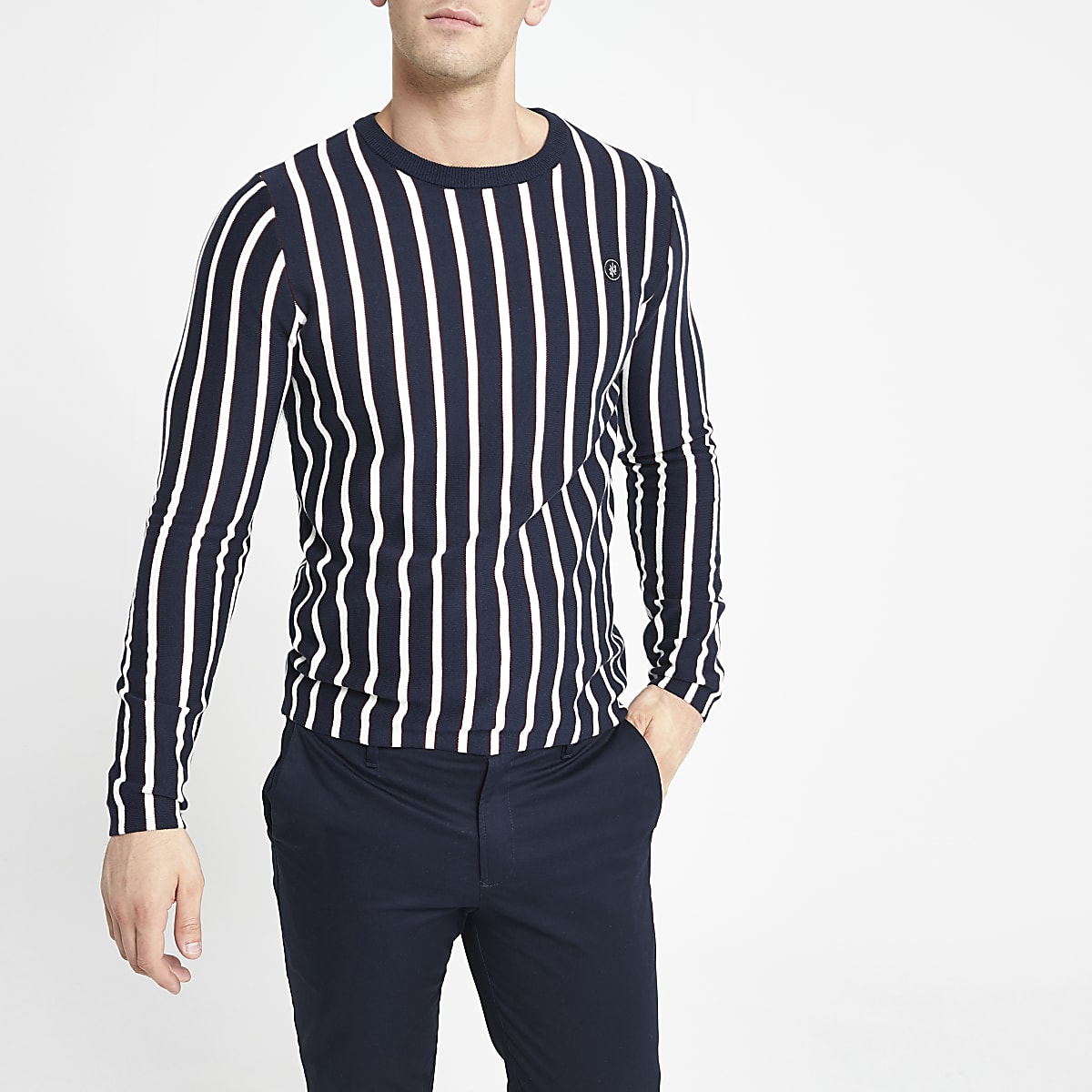 Jack and Jones white stripe knitted sweater